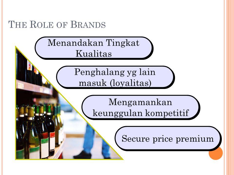 T HE R OLE OF B RANDS Menandakan Tingkat Kualitas Penghalang yg lain masuk (loyalitas) Mengamankan keunggulan kompetitif Secure price premium