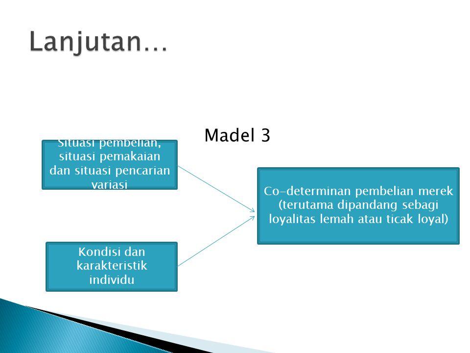Madel 3 Kondisi dan karakteristik individu Situasi pembelian, situasi pemakaian dan situasi pencarian variasi Co-determinan pembelian merek (terutama dipandang sebagi loyalitas lemah atau ticak loyal)