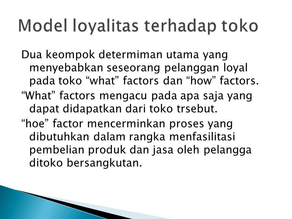 """Dua keompok determiman utama yang menyebabkan seseorang pelanggan loyal pada toko """"what"""" factors dan """"how"""" factors. """"What"""" factors mengacu pada apa sa"""
