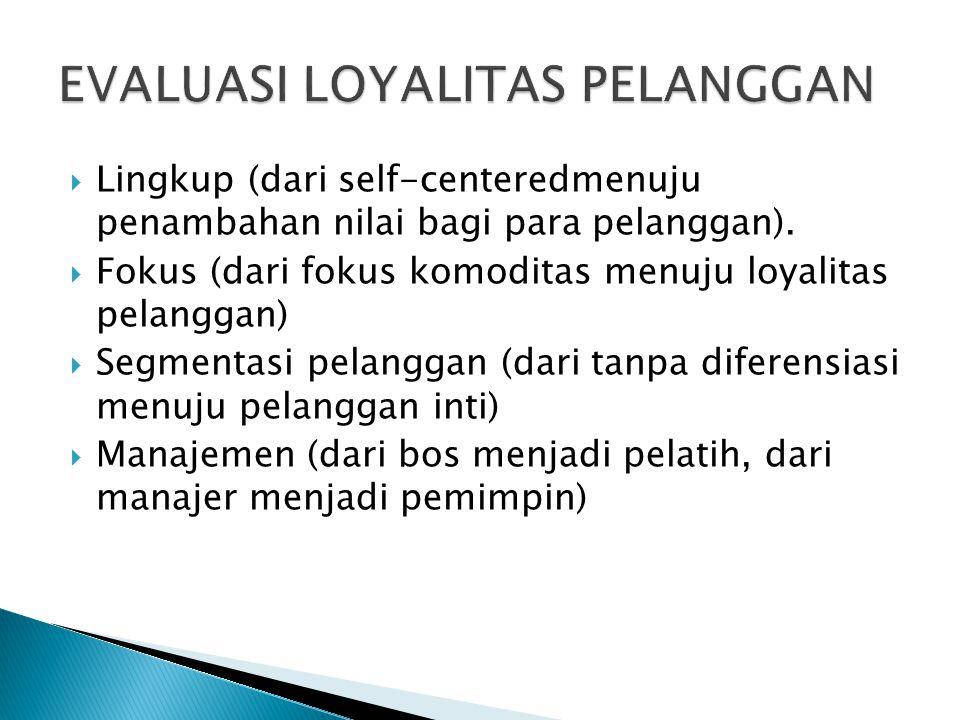  Lingkup (dari self-centeredmenuju penambahan nilai bagi para pelanggan).  Fokus (dari fokus komoditas menuju loyalitas pelanggan)  Segmentasi pela