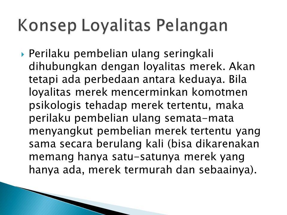 Perilaku pembelian ulang seringkali dihubungkan dengan loyalitas merek. Akan tetapi ada perbedaan antara keduaya. Bila loyalitas merek mencerminkan
