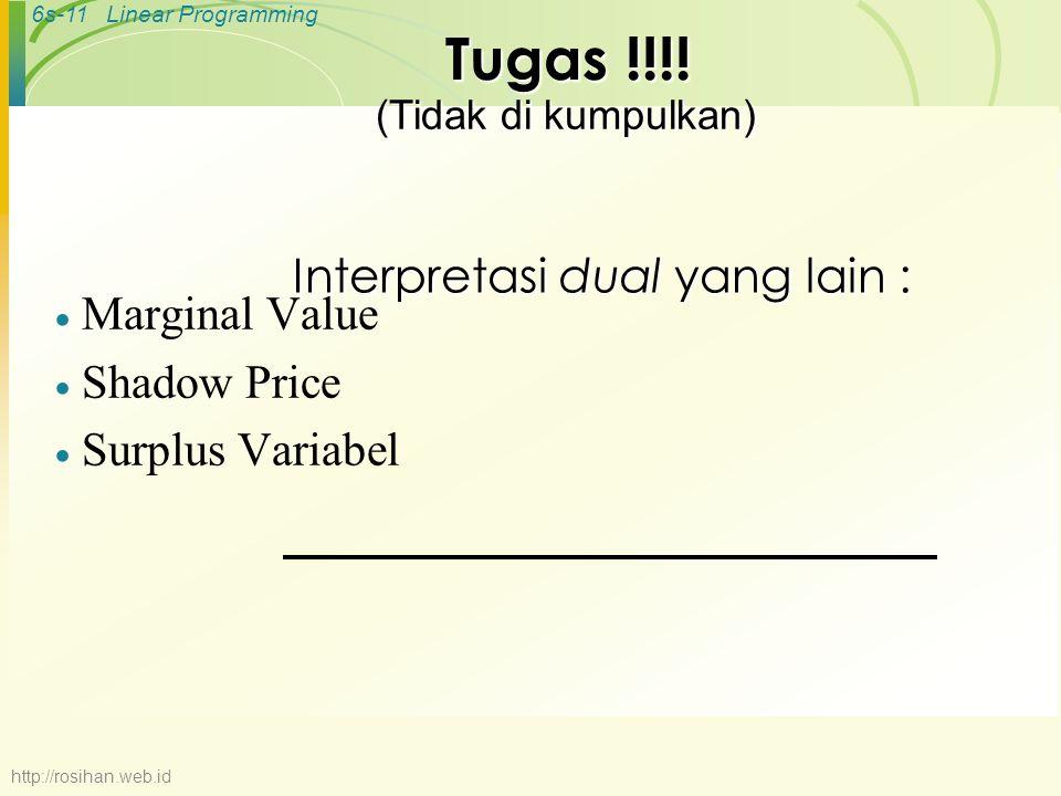 6s-11Linear Programming Interpretasi dual yang lain :  Marginal Value  Shadow Price  Surplus Variabel Tugas !!!! (Tidak di kumpulkan) http://rosiha