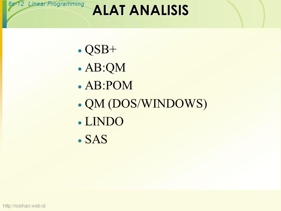 6s-12Linear Programming ALAT ANALISIS  QSB+  AB:QM  AB:POM  QM (DOS/WINDOWS)  LINDO  SAS http://rosihan.web.id