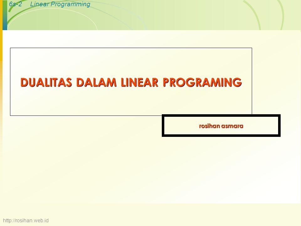 6s-2Linear Programming DUALITAS DALAM LINEAR PROGRAMING rosihan asmara http://rosihan.web.id