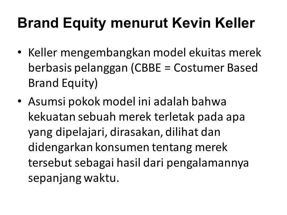 Brand Equity menurut Kevin Keller Keller mengembangkan model ekuitas merek berbasis pelanggan (CBBE = Costumer Based Brand Equity) Asumsi pokok model