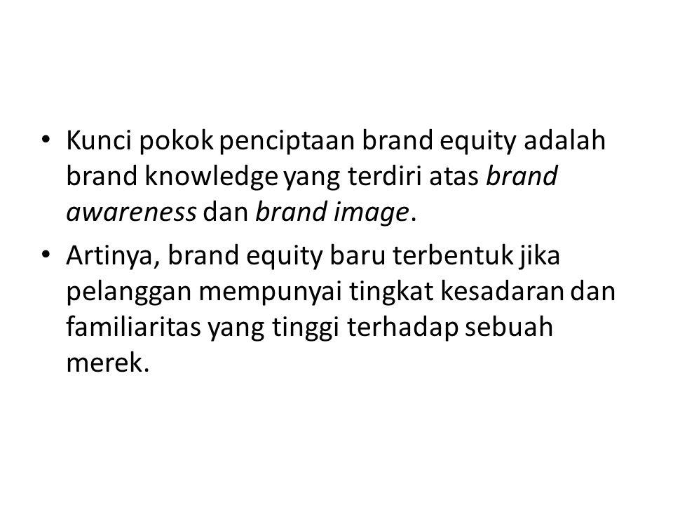 Kunci pokok penciptaan brand equity adalah brand knowledge yang terdiri atas brand awareness dan brand image. Artinya, brand equity baru terbentuk jik