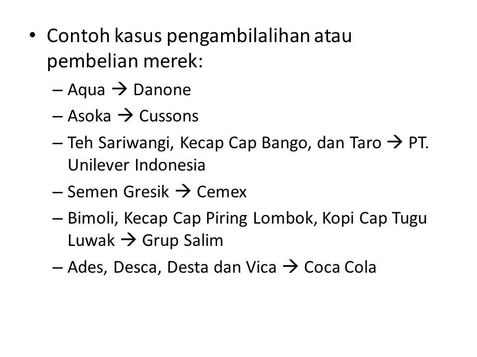Contoh kasus pengambilalihan atau pembelian merek: – Aqua  Danone – Asoka  Cussons – Teh Sariwangi, Kecap Cap Bango, dan Taro  PT. Unilever Indones