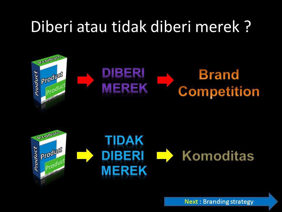 Diberi atau tidak diberi merek ? Next : Branding strategy