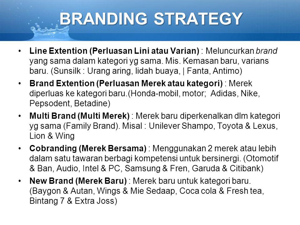 BRANDING STRATEGY Line Extention (Perluasan Lini atau Varian) : Meluncurkan brand yang sama dalam kategori yg sama. Mis. Kemasan baru, varians baru. (