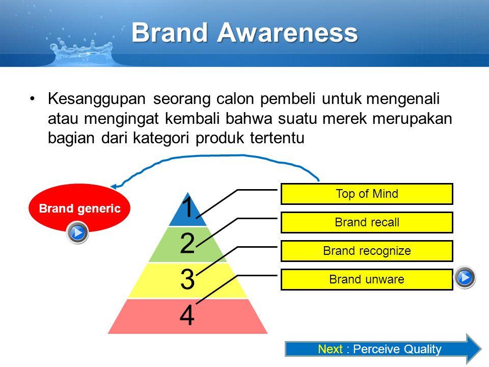 1 2 3 4 Brand generic Brand Awareness Kesanggupan seorang calon pembeli untuk mengenali atau mengingat kembali bahwa suatu merek merupakan bagian dari