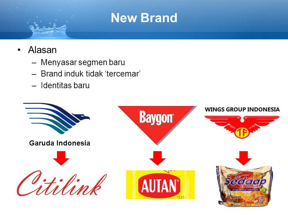 New Brand Alasan –Menyasar segmen baru –Brand induk tidak 'tercemar' –Identitas baru Garuda Indonesia