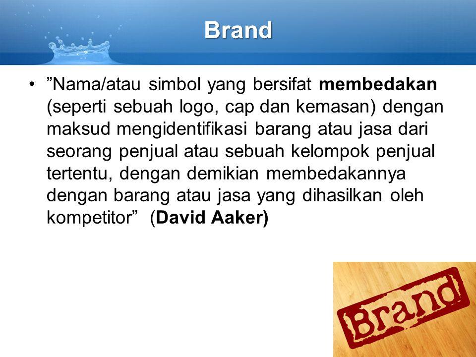 """Brand """"Nama/atau simbol yang bersifat membedakan (seperti sebuah logo, cap dan kemasan) dengan maksud mengidentifikasi barang atau jasa dari seorang p"""