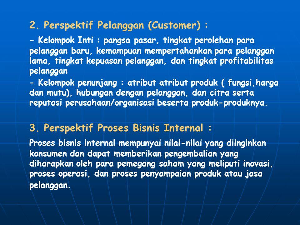 2. Perspektif Pelanggan (Customer) : - Kelompok Inti : pangsa pasar, tingkat perolehan para pelanggan baru, kemampuan mempertahankan para pelanggan la