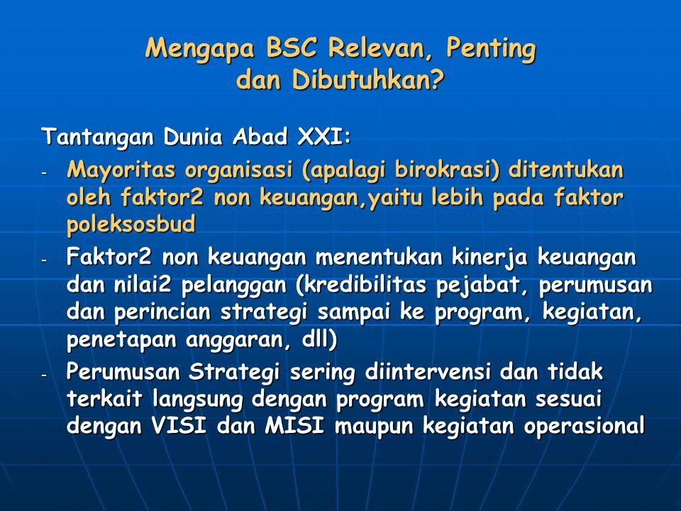 Mengapa BSC Relevan, Penting dan Dibutuhkan? Tantangan Dunia Abad XXI: - Mayoritas organisasi (apalagi birokrasi) ditentukan oleh faktor2 non keuangan