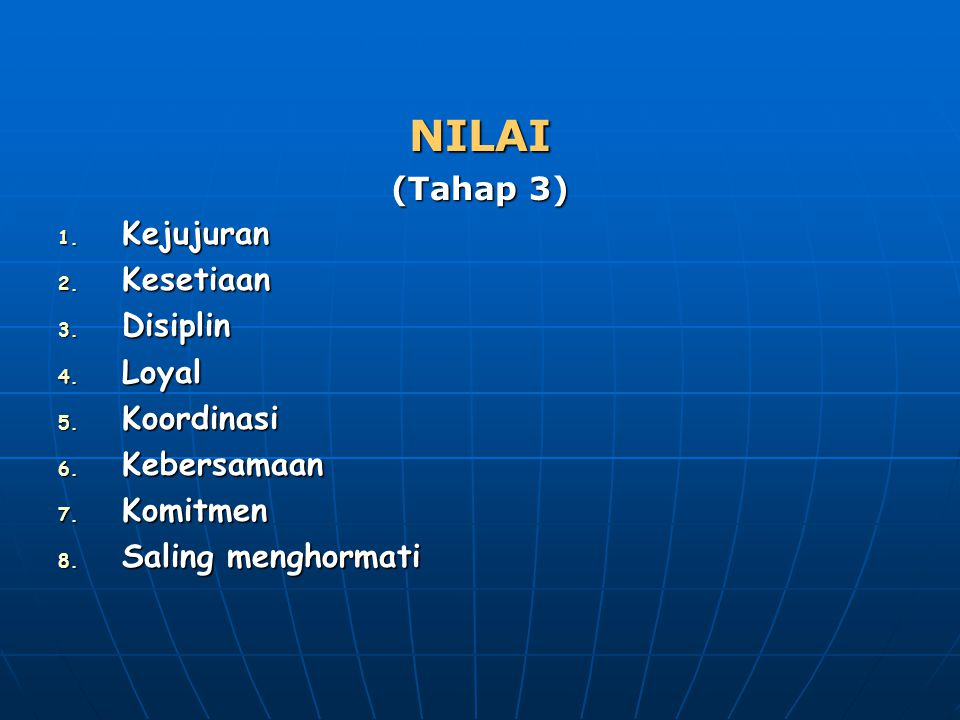 NILAI (Tahap 3) 1. Kejujuran 2. Kesetiaan 3. Disiplin 4. Loyal 5. Koordinasi 6. Kebersamaan 7. Komitmen 8. Saling menghormati