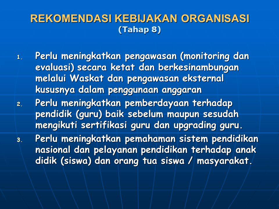 REKOMENDASI KEBIJAKAN ORGANISASI (Tahap 8) 1. Perlu meningkatkan pengawasan (monitoring dan evaluasi) secara ketat dan berkesinambungan melalui Waskat