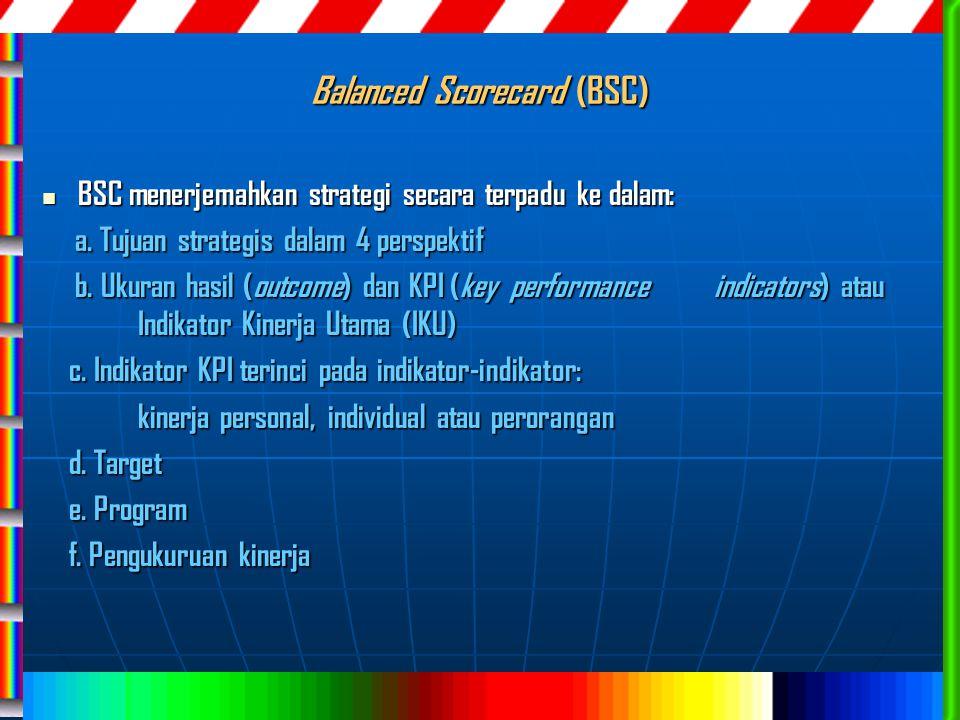 Balanced Scorecard (BSC) BSC menerjemahkan strategi secara terpadu ke dalam: BSC menerjemahkan strategi secara terpadu ke dalam: a. Tujuan strategis d
