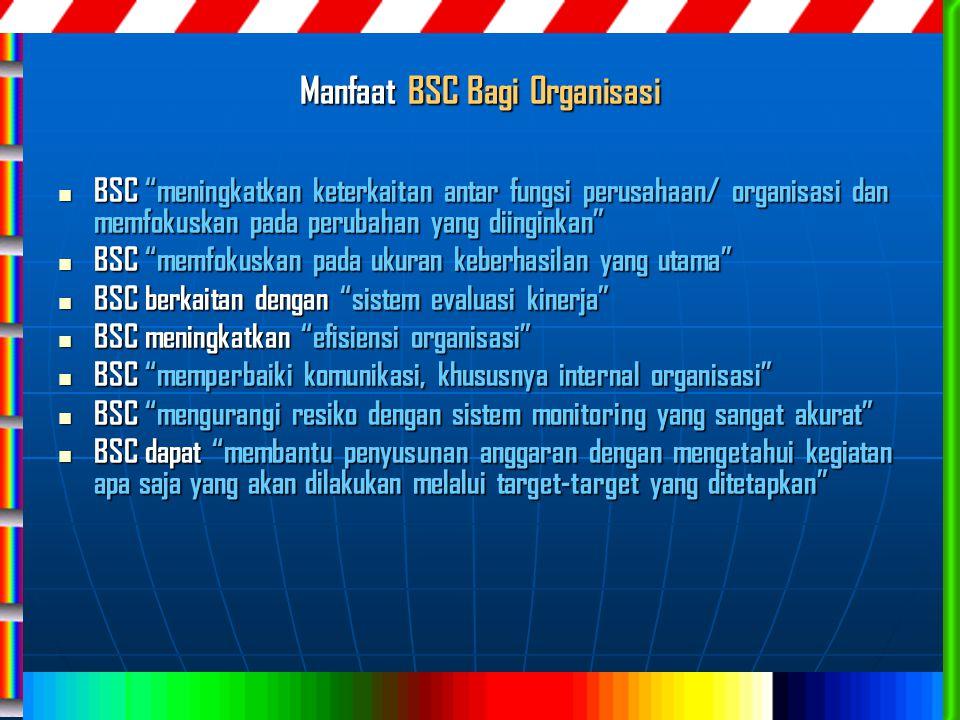 """Manfaat BSC Bagi 0rganisasi BSC """"meningkatkan keterkaitan antar fungsi perusahaan/ organisasi dan memfokuskan pada perubahan yang diinginkan"""" BSC """"men"""