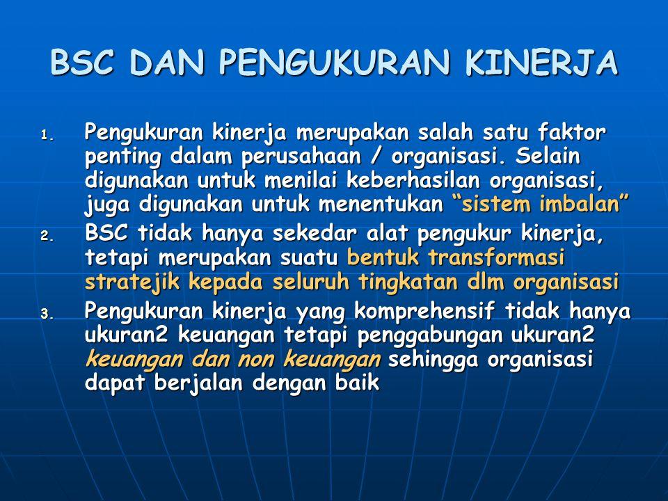 BSC DAN PENGUKURAN KINERJA 1. Pengukuran kinerja merupakan salah satu faktor penting dalam perusahaan / organisasi. Selain digunakan untuk menilai keb