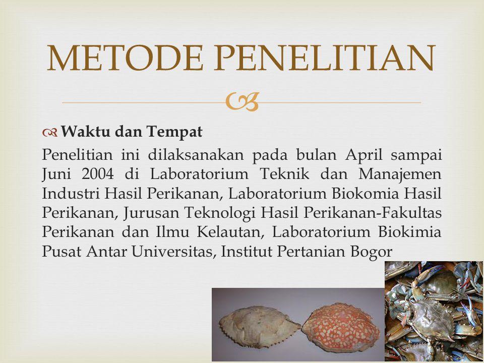   Waktu dan Tempat Penelitian ini dilaksanakan pada bulan April sampai Juni 2004 di Laboratorium Teknik dan Manajemen Industri Hasil Perikanan, Laboratorium Biokomia Hasil Perikanan, Jurusan Teknologi Hasil Perikanan-Fakultas Perikanan dan Ilmu Kelautan, Laboratorium Biokimia Pusat Antar Universitas, Institut Pertanian Bogor METODE PENELITIAN