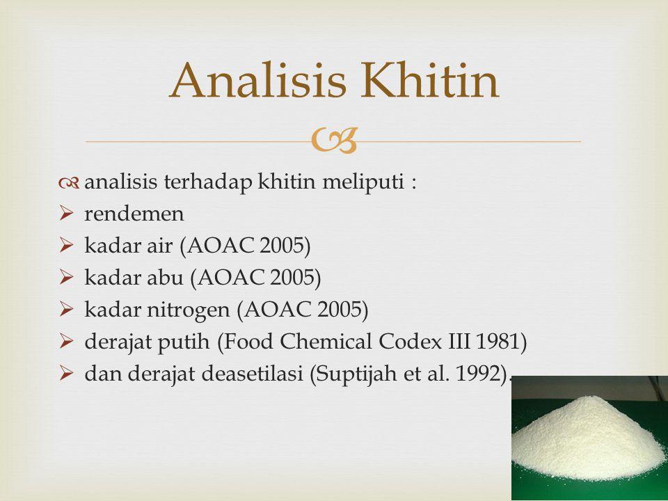   analisis terhadap khitin meliputi :  rendemen  kadar air (AOAC 2005)  kadar abu (AOAC 2005)  kadar nitrogen (AOAC 2005)  derajat putih (Food Chemical Codex III 1981)  dan derajat deasetilasi (Suptijah et al.