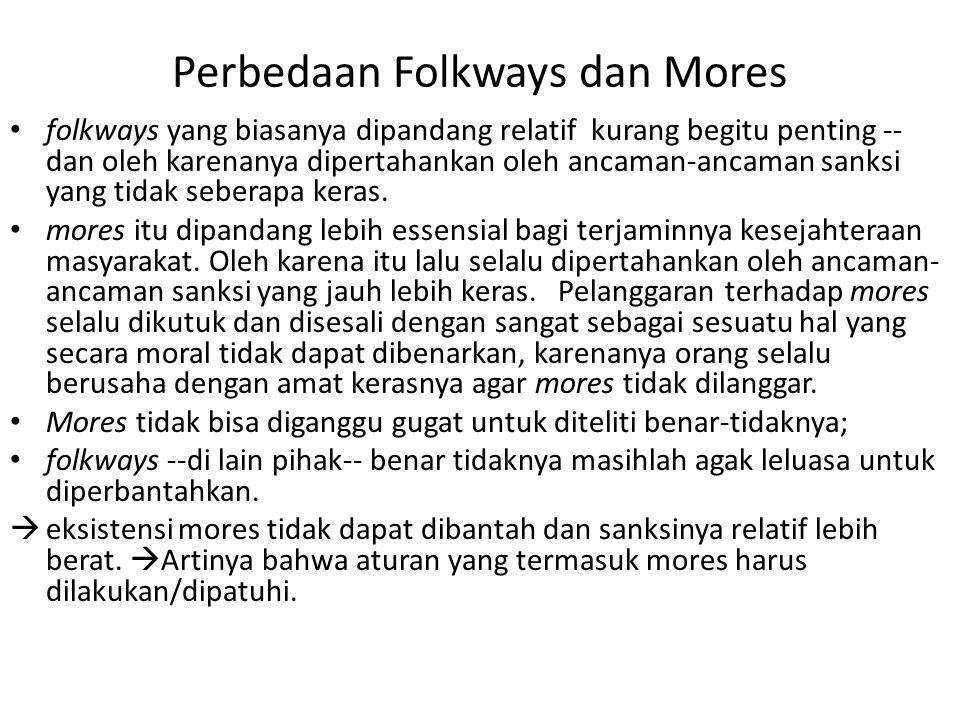 Perbedaan Folkways dan Mores folkways yang biasanya dipandang relatif kurang begitu penting -- dan oleh karenanya dipertahankan oleh ancaman-ancaman s