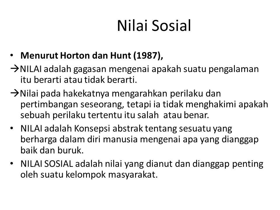 Nilai Sosial Menurut Horton dan Hunt (1987),  NILAI adalah gagasan mengenai apakah suatu pengalaman itu berarti atau tidak berarti.  Nilai pada hake
