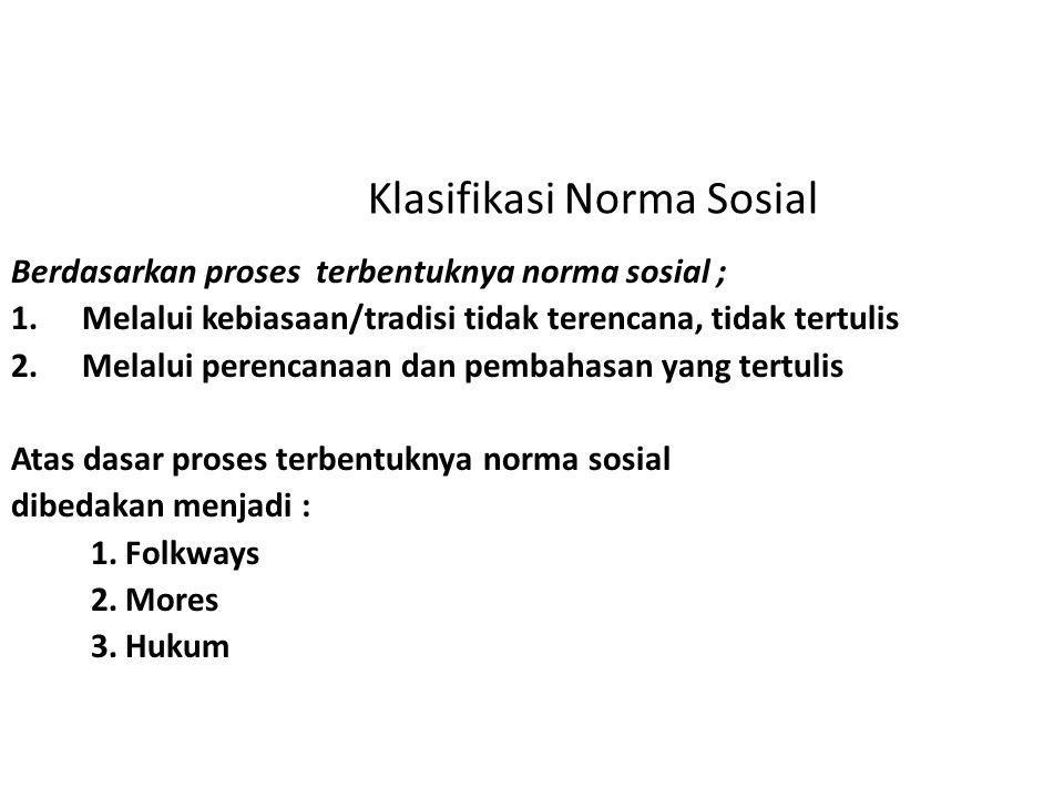 Klasifikasi Norma Sosial Berdasarkan proses terbentuknya norma sosial ; 1.Melalui kebiasaan/tradisi tidak terencana, tidak tertulis 2.Melalui perencan