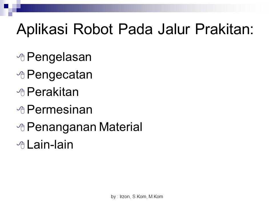 by : Irzon, S.Kom, M.Kom Aplikasi Robot Pada Jalur Prakitan:  Pengelasan  Pengecatan  Perakitan  Permesinan  Penanganan Material  Lain-lain