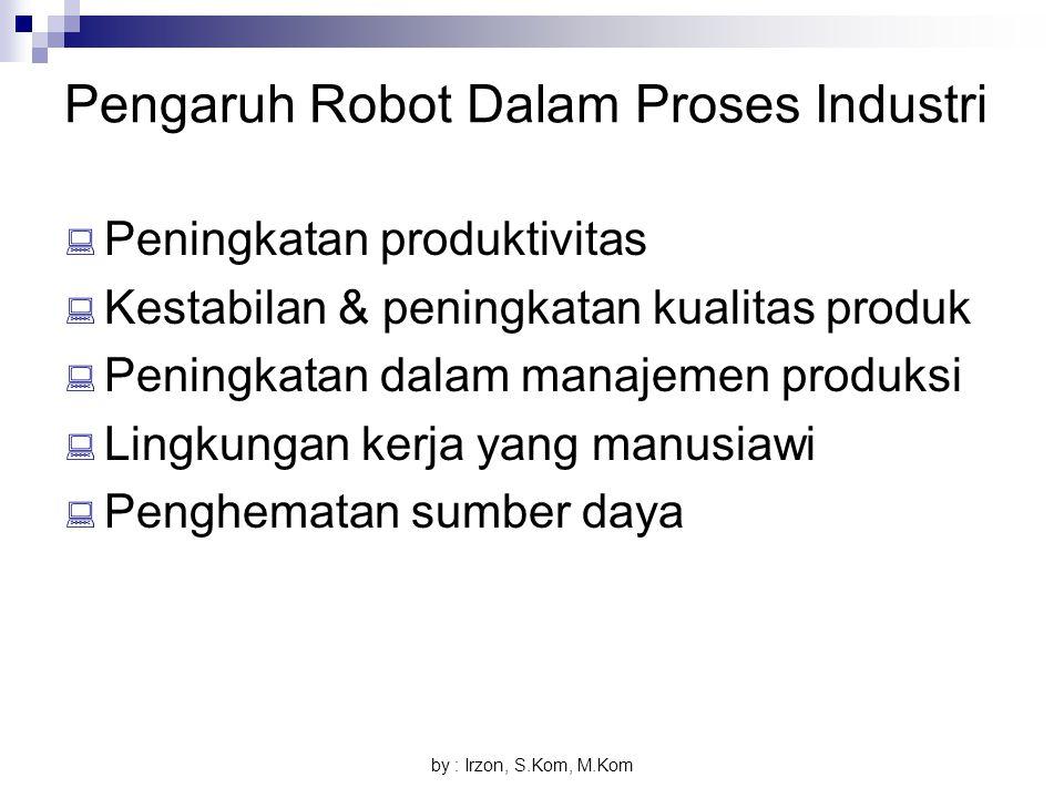 by : Irzon, S.Kom, M.Kom Pengaruh Robot Dalam Proses Industri  Peningkatan produktivitas  Kestabilan & peningkatan kualitas produk  Peningkatan dal
