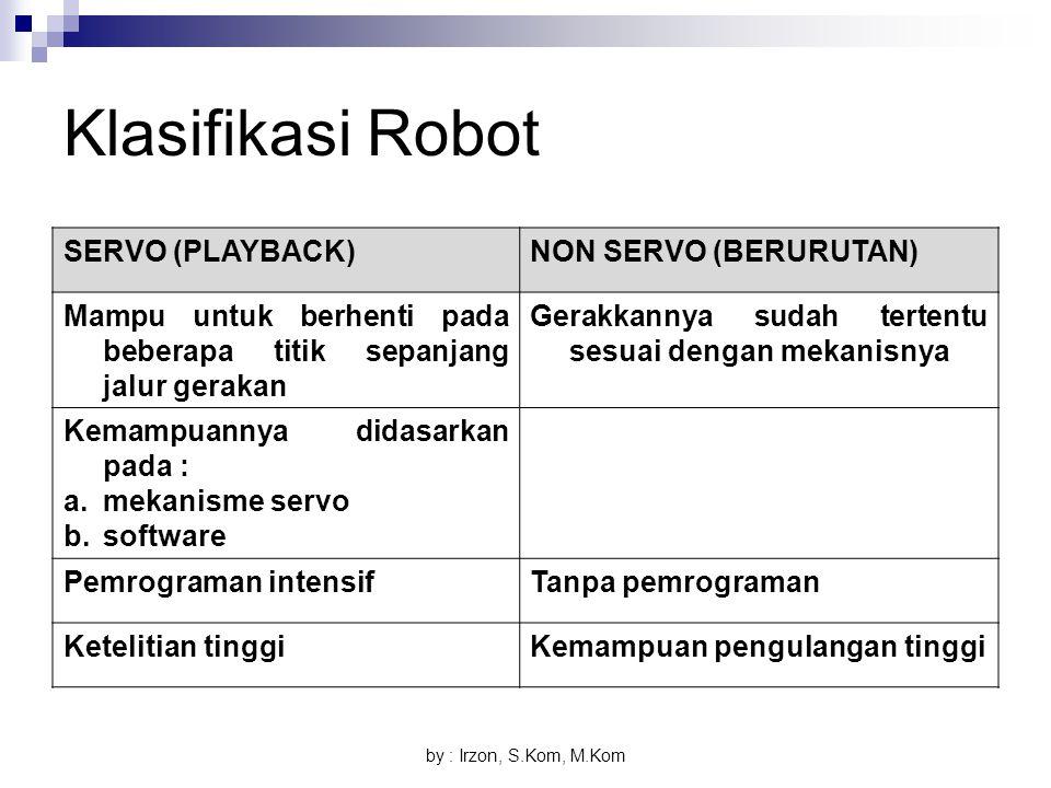 by : Irzon, S.Kom, M.Kom Klasifikasi Robot SERVO (PLAYBACK)NON SERVO (BERURUTAN) Mampu untuk berhenti pada beberapa titik sepanjang jalur gerakan Gera