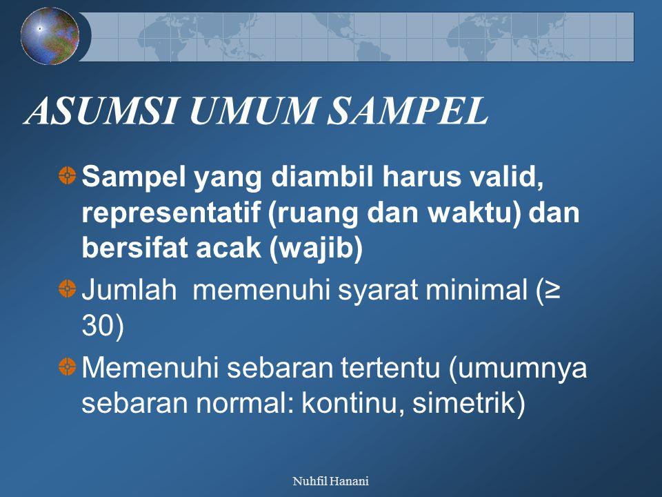 Nuhfil Hanani ASUMSI UMUM SAMPEL Sampel yang diambil harus valid, representatif (ruang dan waktu) dan bersifat acak (wajib) Jumlah memenuhi syarat minimal (≥ 30) Memenuhi sebaran tertentu (umumnya sebaran normal: kontinu, simetrik)