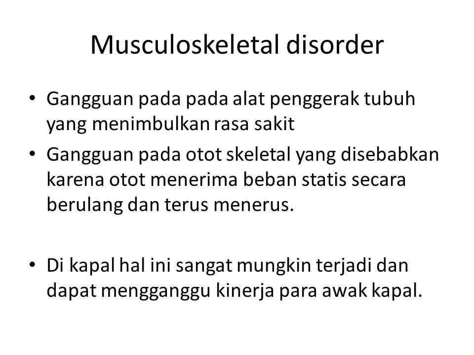 Musculoskeletal disorder Gangguan pada pada alat penggerak tubuh yang menimbulkan rasa sakit Gangguan pada otot skeletal yang disebabkan karena otot m