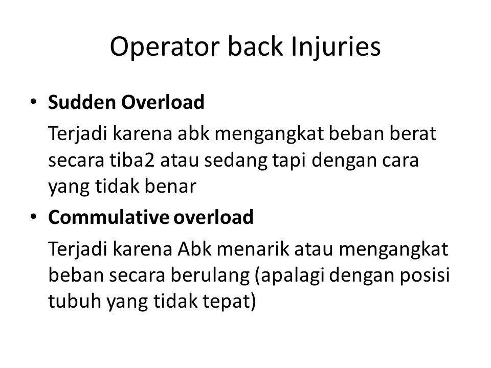 Operator back Injuries Sudden Overload Terjadi karena abk mengangkat beban berat secara tiba2 atau sedang tapi dengan cara yang tidak benar Commulativ