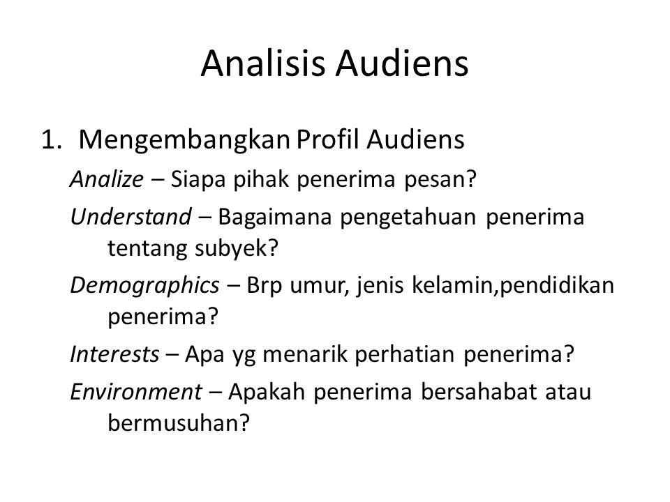 Analisis Audiens 1.Mengembangkan Profil Audiens Analize – Siapa pihak penerima pesan? Understand – Bagaimana pengetahuan penerima tentang subyek? Demo