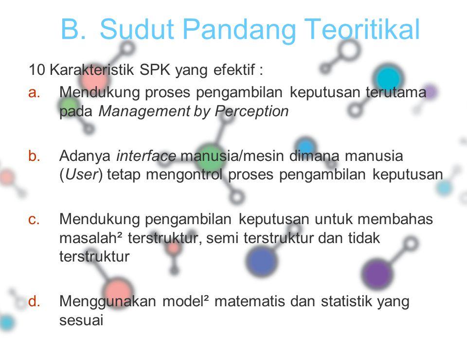 B.Sudut Pandang Teoritikal 10 Karakteristik SPK yang efektif : a.Mendukung proses pengambilan keputusan terutama pada Management by Perception b.Adany