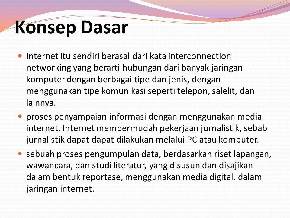 Konsep Dasar Internet itu sendiri berasal dari kata interconnection networking yang berarti hubungan dari banyak jaringan komputer dengan berbagai tip