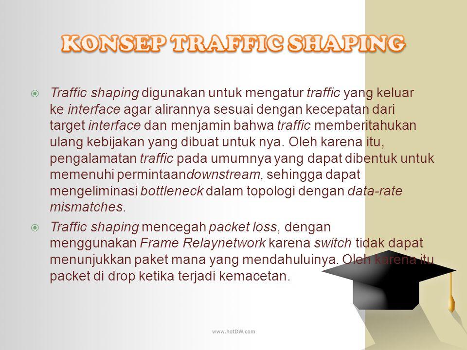 Traffic shaping digunakan untuk mengatur traffic yang keluar ke interface agar alirannya sesuai dengan kecepatan dari target interface dan menjamin