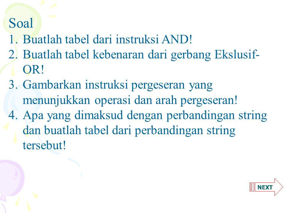 NEXT Soal 1.Buatlah tabel dari instruksi AND! 2.Buatlah tabel kebenaran dari gerbang Ekslusif- OR! 3.Gambarkan instruksi pergeseran yang menunjukkan o