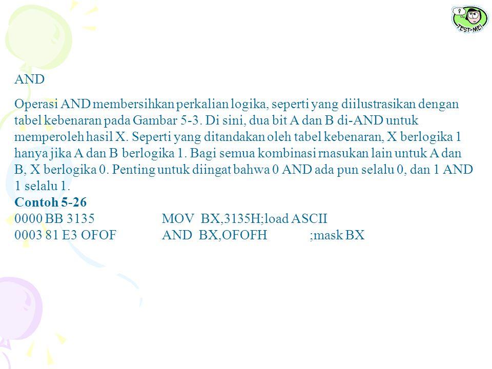 Tabel 5-14Instruksi AND Bahasa AssemblyOperasi AND AL,BL AL = AL AND BL AND CX,DXCX = CX AND DX AND ECX, EDIECX = ECX AND EDI AND CL, 33 H CL = CL AND 33H AND DI,4FFFH DI = DI AND 4F FFH AND ESI,34HESI = ESI AND 34H AND AX,[DI]AX di-AND dengan isi lokasi memori segmen data berukuran word yang dialamati oleh DI AND AX,[DI]Isi byte dari lokasi memori segmen data yang dialamati oleh penjumlahan ARRAY plus SI di-AND-kan dengan AL; hasil dipindahkan dalam memori AND [EAX],CL CL di-AND dengan isi lokasi memori segmen data berukuran byte yang dialamati oleh EAX; hasil dipindahkan dalam memori