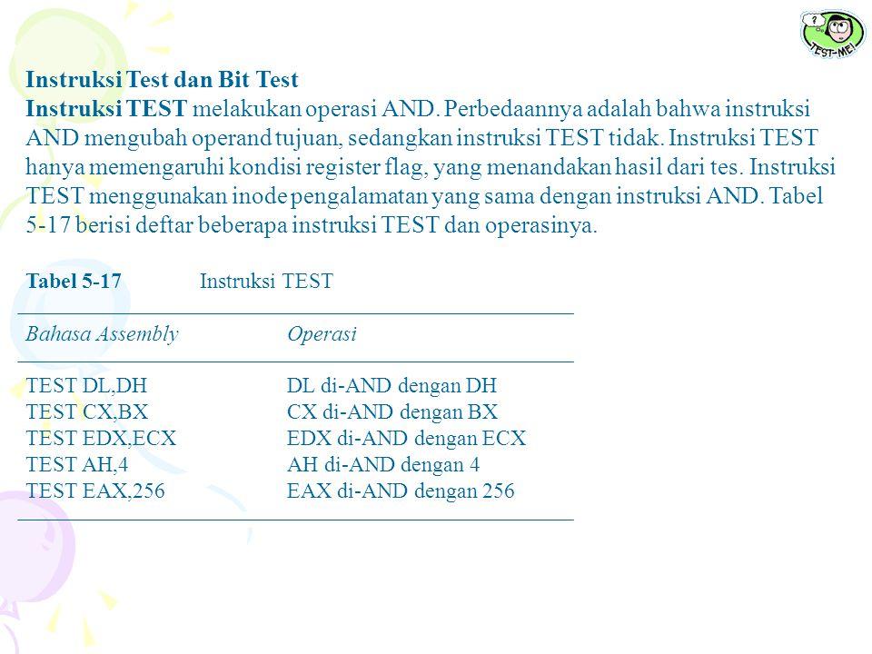 Instruksi Test dan Bit Test Instruksi TEST melakukan operasi AND. Perbedaannya adalah bahwa instruksi AND mengubah operand tujuan, sedangkan instruksi