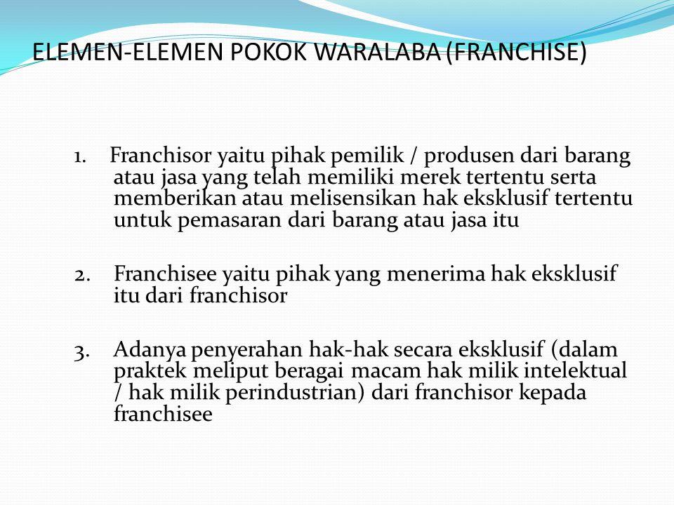 Lanjutan …… 4.Adanya penetapan wilayah tertentu, franchise area dimana franchisee diberikan hak untuk beroperasi di wilayah tertentu 5.Adanya imbal prestasi dari franchisee kepada franchisor yang berupa Initial Fee dan Royalties serta biaya-biaya lan yang disepakati oleh kedua belah pihak 6.Adanya standar mutu yang ditetapkan oleh franchisor bagi franchisee, serta spervisi secara berkala dalam rangka mempertahankan mutu 7.Adanya pelatihan awal, pelatihan yang berkesinambungan, yang diselenggarakan oleh franchisor guna peningkatan ketrampilan