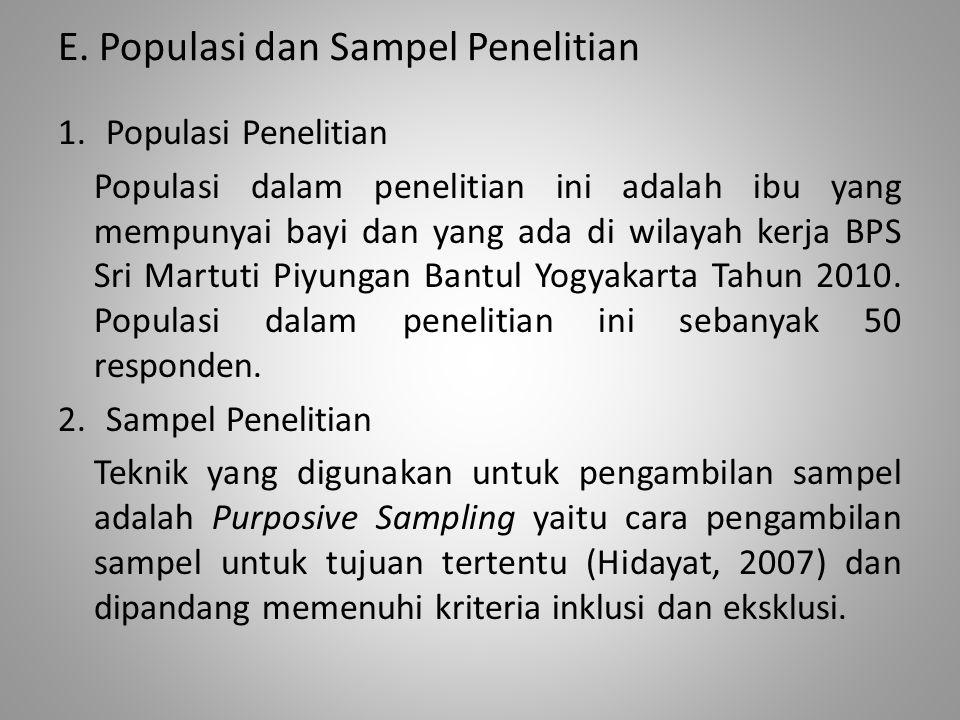 E. Populasi dan Sampel Penelitian 1.Populasi Penelitian Populasi dalam penelitian ini adalah ibu yang mempunyai bayi dan yang ada di wilayah kerja BPS