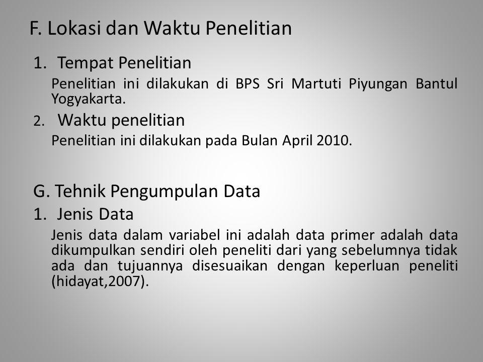 F. Lokasi dan Waktu Penelitian 1.Tempat Penelitian Penelitian ini dilakukan di BPS Sri Martuti Piyungan Bantul Yogyakarta. 2. Waktu penelitian Penelit