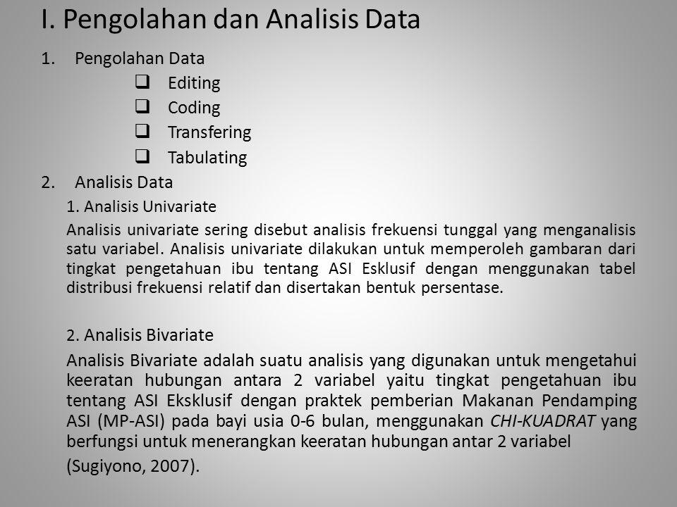 I. Pengolahan dan Analisis Data 1.Pengolahan Data  Editing  Coding  Transfering  Tabulating 2.Analisis Data 1. Analisis Univariate Analisis univar