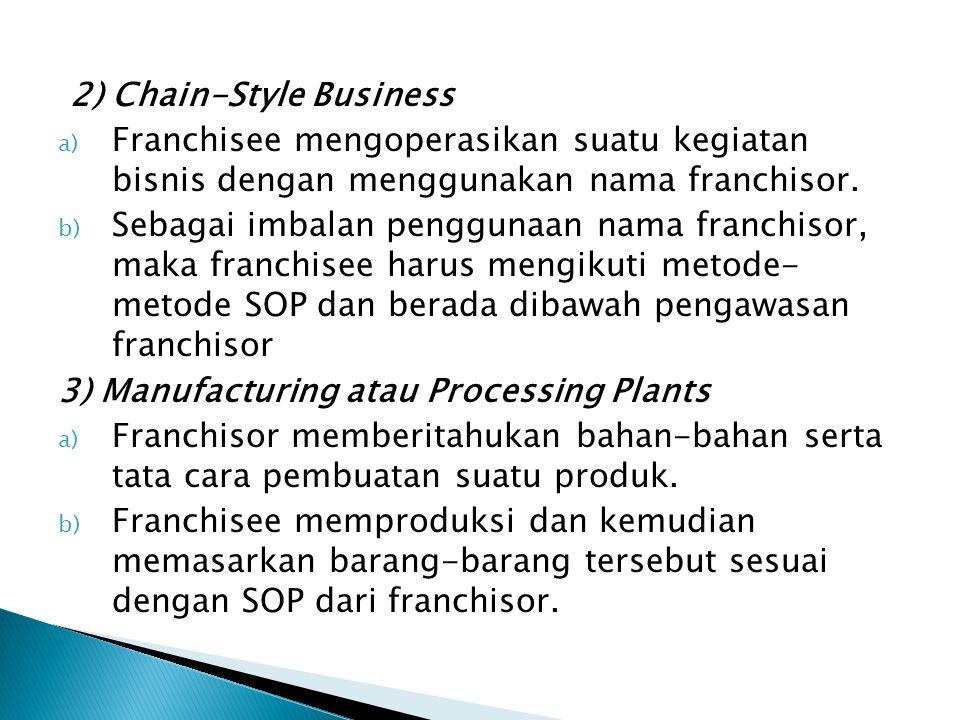 Di Indonesia, setidaknya terdapat empat jenis waralaba, yaitu : 1) Waralaba dengan sistem format bisnis 2) Waralaba bagi keuntungan 3) Waralaba kerjasama investasi 4) Waralaba produk dan merek dagang