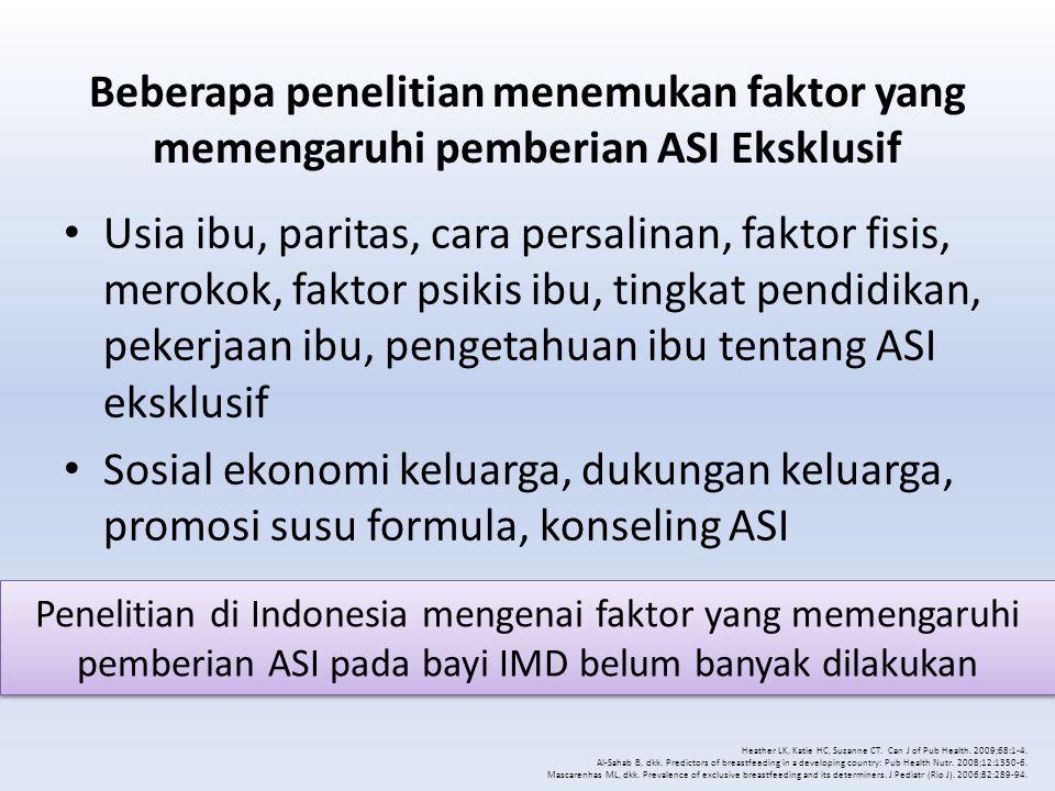 Metodologi Penelitian Potong lintang analitik Poliklinik Anak RS St Carolus Jakarta Juni-September 2012 Kuesioner Ibu yang memiliki bayi berusia 6-12 bulan Consecutive sampling