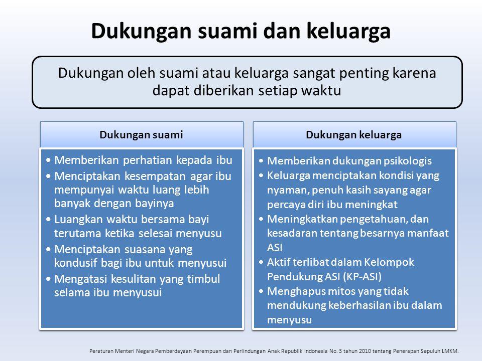 Dukungan suami dan keluarga Peraturan Menteri Negara Pemberdayaan Perempuan dan Perlindungan Anak Republik Indonesia No. 3 tahun 2010 tentang Penerapa