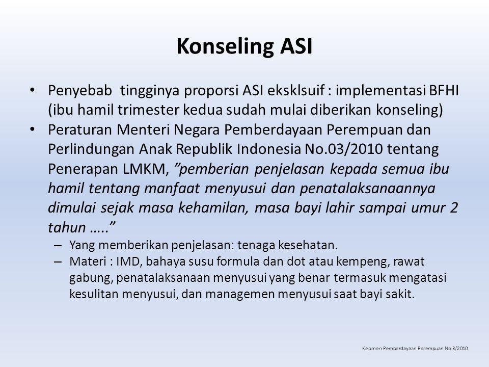 Konseling ASI Penyebab tingginya proporsi ASI eksklsuif : implementasi BFHI (ibu hamil trimester kedua sudah mulai diberikan konseling) Peraturan Ment