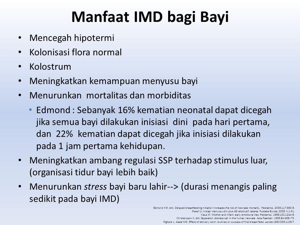 Manfaat IMD bagi Bayi Mencegah hipotermi Kolonisasi flora normal Kolostrum Meningkatkan kemampuan menyusu bayi Menurunkan mortalitas dan morbiditas Ed